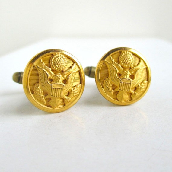Cuff Links - Vintage Military Eagle Buttons, Repurposed, Gold Tone, Small Size