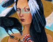 Wounded sacred heart Native American raven crow feathers 8x10 fine art print