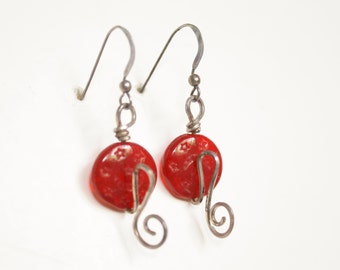 Red Czech Glass on Sterling Earrings