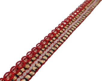 Multicolor Braided Ribbon Trim By The Yard, Embellishments, Decorative Sari Border, Sewing Crafts Ribbon Trim, Sewing Accessories RT987J