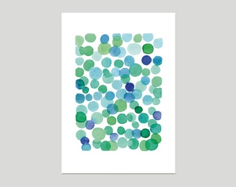 Art print blue green dots watercolor painting watercolor print abstract painting summer painting