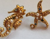 Vintage Avon Brooches Pinch Back Sea Horse and Starfish Rhinestones Faux Pearls Screw On