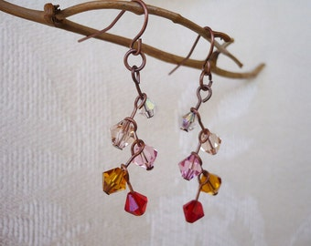 Red Ombre Crystal Cascade Earrings