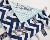 Personalized  DOUBLE MINKY Ribbon Tag Blanket with SHARK and Pacifier Clip, Large 16 x 16