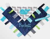 PERSONALIZED WHALE Ribbon Tag Sensory Blanket with Pacifier Clip Large 16 x 16 Turquoise Lime Navy Minky