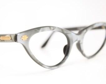 NOS gray cat eye glasses vintage cateye frames eyeglasses