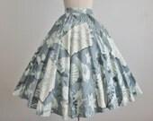 50's Novelty Circle Skirt // Vintage 1950's Shell Print Rhinestone Cotton Full Circle Skirt XS