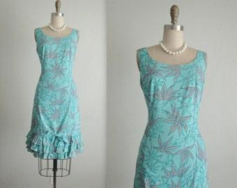 60's Summer Dress // Vintage 1960's Screen Print Aqua Cotton Garden Party Sheath Dress S