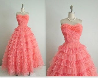 Sold on Layaway 50's Prom Gown // Vintage 1950s Strapless Coral Tulle Wedding Party Prom Dress M