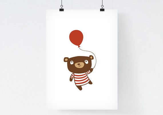 Nursery decor- Birthday Bear - Childrens Art Illustration Print - kids wall art print