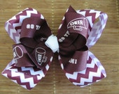 2635 maroon and white double boutique bow