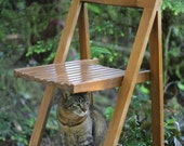Danish Antique Minimalist Wood Folding Chair