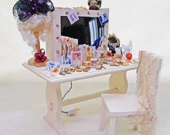 Dolls house miniature Theatre Actor's Make-up Table and matching chair.