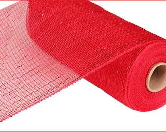 10 inch Red Red Foil Deco Mesh Roll RE130124, Deco Mesh Supplies