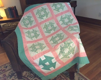 "Monkey Wrench Baby Quilt Top 49"" X 49"" Feed Sack Quilt Top Antique Quilt Top Pink and Green Quilt"