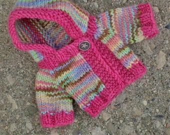"Hand knit, all natural doll hoodie. Fits 10"" Waldorf doll."