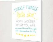 Twinkle Little Star Canvas // Childrens Nursery Canvas // Baby Nursery Art // Blue and yellow Nursery Art // Baby Gift // Girl's Boy's Room
