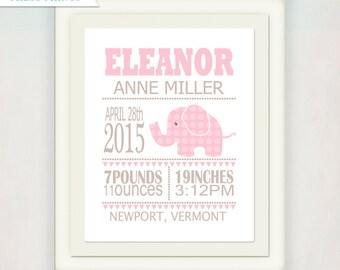 Baby Nursery Art // Personalized Birth Announcement Print // Custom Wall Art Poster // Elephant Kids Art // Childrens Room // Elephant Theme