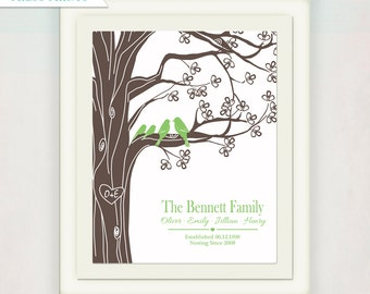 Family Tree Print with Personalized Initials and Anniversary Date // Family and Children's Names // Wedding Sign //  Love Birds