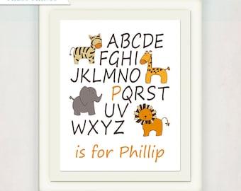 Safari Baby Nursery Art Print // ABC's with Giraffe Lion Elephant Zebra // Baby Name Print // Jungle Alphabet Poster // yellow brown tan