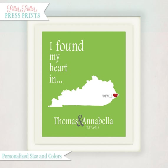 Personalized Wedding Gift Art Print // State & City Print // I Found My Heart In... // Anniversary Print // Housewarming Gift Print