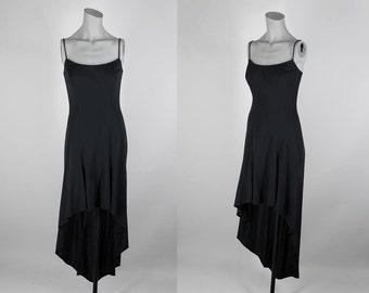 Vintage 90s Dress / 1990s Minimalist Black Fishtail Dress XS S