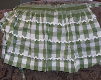Vintage Green and White Gingham Pleated Apron