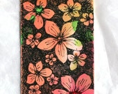 Orange pink green abstract watercolor aceo and gift tag with ribbon, original flower floral pen and ink orange