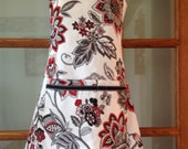 Black, gray, red Floral Apron