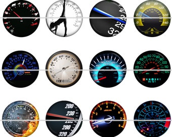 "Speedometer Magnets, Speedometer Pins, 1"" Inch Flat Back Buttons, Pins, or Magnets 12 ct., Cabochon"