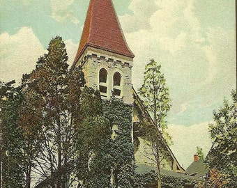First Presbyterian Church HIGHLAND FALLS New York Vintage Postcard 1923 Flag and West Point Cancels