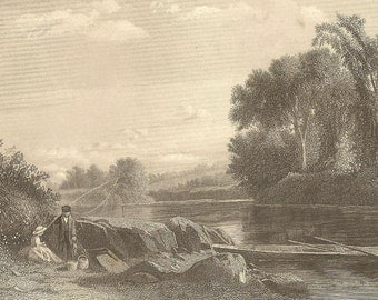 Evening on the Connecticut – Couple Fishing by the Water's Edge Antique Engraving from 1850s Serene Calm Romantic Image Suitable for Framing