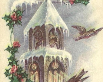 Vintage Christmas Postcard Birds and Snow Covered Church Bell Tower – Finnish Christmas Greeting – Vintage Christmas Postcard S Bergman 1919