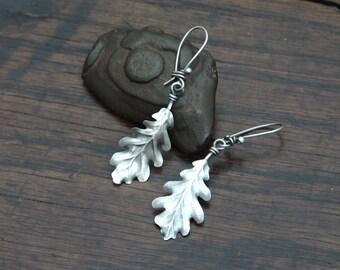 Single Oak Leaf Sterling silver Earrings, very light to wear asymmetric drop earrings