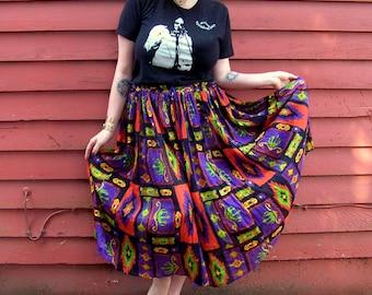 Vintage Purple Grape Hippie Boho Neon Tribal Print Cotton Gauzy Semi-Sheer Midi/Maxi Skirt One Size Fits All