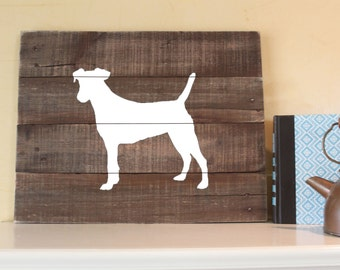 Jack Russell Terrier Silhouette -  Reclaimed Wood Sign