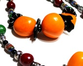 Huge Tagua Nut & Mille Fiore Necklace Set - Multicolor Layering Statement Necklaces, Tribal, Super Chunky, One of a Kind, Texas Artist, FUN