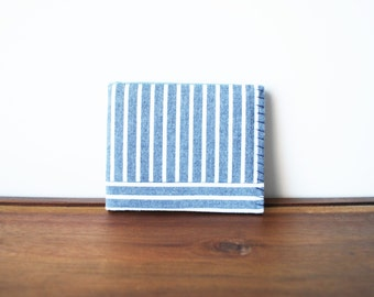 Upcycled Grey and White Striped Cloth Mens Bifold Wallet with Mint and Blue Interior