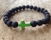Men's Green Cross Lava Bracelet, Black Lava Stone, Sideways Cross, Stretch Bracelet, Bohemian Jewelry, Boyfriend Gift