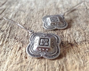 Quatrefoil Earrings, Drop Earrings, Moroccan Earrings, Clover Earrings, Antique Silver Earrings, Bohemian Earrings, Bohemian Jewelry