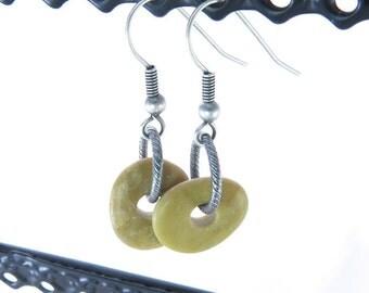 Center Drilled Beach Stone Earrings Israel Gift- Unusual Jewelry OOAK- Handmade Beach Pebble Design Summer