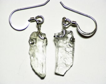 White Goshenite Crystal Shard Earrings (6 ct) in sterling silver