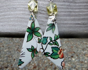 Vintage Tin Earrings Upcycled Repurposed Flowers with Yellow Glass Bead
