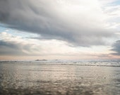 "Stormy Beach Photograph, Gray Silver Pale Blue , Clouds Reflecting, Beach Seascape, Ocean Landscape, ""Cloudy Day"""