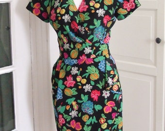 80s Dress, Ungaro Parallele, Silk, Crepe, Fruits, Novelty Print, Faux Wrap, Paris, S/M