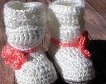 Crochet Baby Booties, Baby Slippers, White Newborn - 3 months