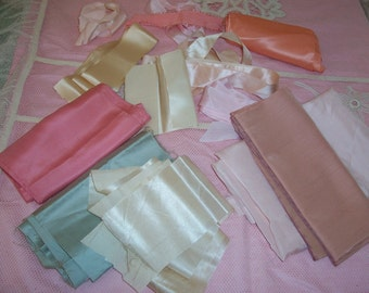 large Lot ANTIQUE wide Pink & Cream Silk RIBBON Trim, Belting...SALE