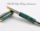 Box Elder Burl Teal Yellow Handcrafted Unique Fountain Pen