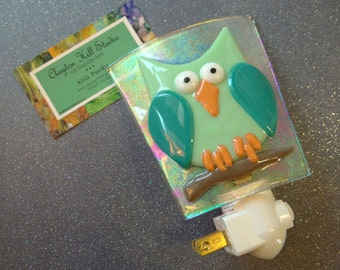 Fused Glass Night Light - Night Owl