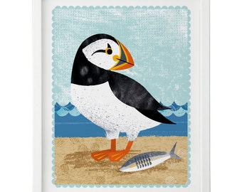 Puffin and Herring print